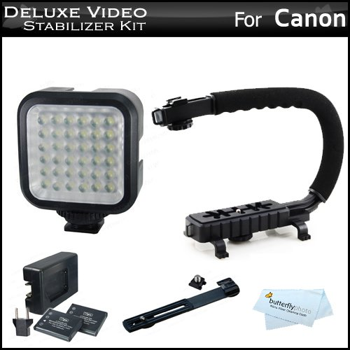 Deluxe LED Video Light w/ Support Bracket + 2 Batteries + Charger + Video Action Stabilizer Handle Kit For Canon EOS M, Rebel T5i, T5, SL1, T4i, T3i, 60D, 70D, 6D, EOS-1D X, EOS 5D Mark III DSLR, G1X Mark II, G7 X by ButterflyPhoto