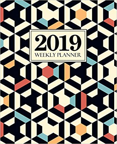 "12 Months Weekly /& Monthly Planner 19x23cm Beige /& Black Geometric Pattern 5548 2019 Weekly Planner Portable Format 7.5/""x9.25/"""