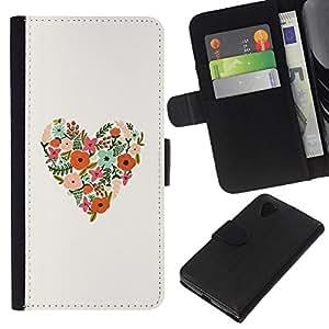 KLONGSHOP // Tirón de la caja Cartera de cuero con ranuras para tarjetas - La primavera florece el amor floral blanco - LG Nexus 5 D820 D821 //