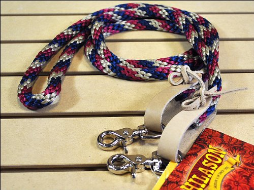 - HILASON R33 Western Horse TACK Three Tone Poly Rope REIN W/Nickel Plated Snaps
