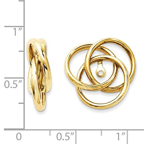 14K Yellow Gold Polished Love Knot Earring Jackets - (0.63 in x 0.67 in)