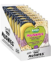 Baby Gourmet Organic Mushies Fruit Snack - Banana Berry With Greek Yogurt - 8 Pack - No Added Sugar or Salt, Non GMO, Gluten Free, No Artificial Flavours or Colours, Kosher - Melt In Your Mouth, Perfect For Self-Feeders (23g) 8-Pack