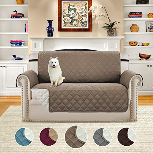 H.VERSAILTEX Pet Friendly Plush Reversible Furniture Protector Elastic Straps, Features to Prevent Stains/Protect from Pets, Spills, Wear Tear (Love Seat: Taupe/Beige)-75'' X 90''