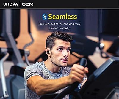 Wireless Earbuds SHAVA GEM True Wireless Stereo Bluetooth 4.2 Headphones Cordless Earphones Sweatproof In-Ear Headset with Mic, Stereo Earbud Headset with Battery Pod
