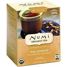 Numi Organic Tea-Mini Sampler, 8 Count Box of Tea Bags, Variety Pack Assorted Tea Bags of Organic Blends-Black Tea Green Tea White Tea Herbal Tea