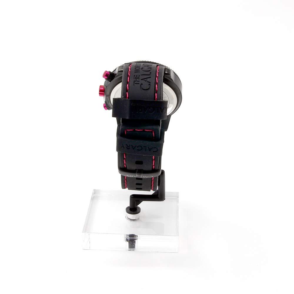 Relojes Calgary, Mazzini Pink White, Correa Negra con Esfera Blanca y Detalles Fucsia: Amazon.es: Relojes