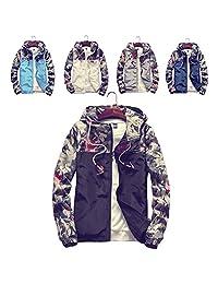 ZHIHONG Men's Fashion Long Sleeve Printed Hooded Windbreaker Jacket Sports Coat