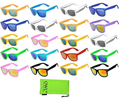 20 Pieces Per Case Wholesale Lot Glasses Assorted Colored Frame Bulk Sunglasses Mirror Lens Party Glasses Supplier (Sunglasses Wholesale Lots)