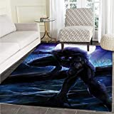 "Fantasy World Door Mats Area Rug Surreal Werewolf Electric Eyes in Full Moon Transformation Folkloric Floor mat Bath Mat tub 36""x60"" Purple Blue"