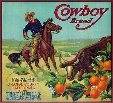 Brownsville Texas Ranger Cowboy Black Orange Citrus Fruit Crate Label Art Print