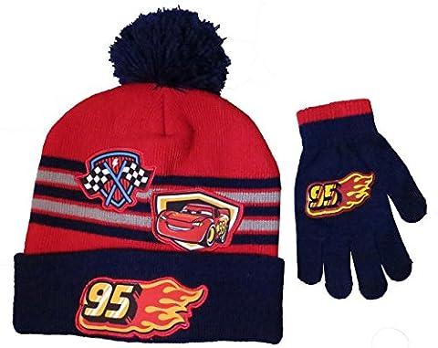 Disney Boys' Cars Lightning McQueen Beanie Hat and Mitten Set - Size 4-7 [4014]