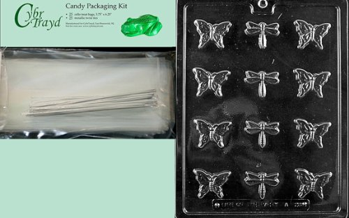 Cybrtrayd MdK25S-A128 B/S Butterfly and Dragonfly Animal Chocolate Candy Mold with Packaging Kit by CybrTrayd