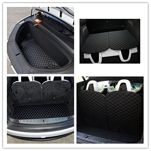 Car Front and Rear Trunk Mat and 3rd Row Seat Back Protector Mat For Tesla Model X 6 seat and 7 seat(4 of set) ()