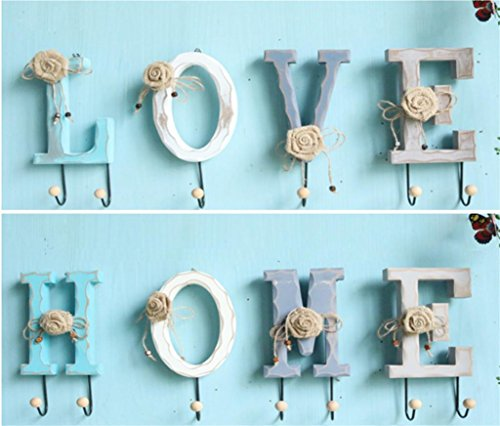 WWZY Robe hook Wood Personality HOME LOVE Clothing and headgear Hook Wall Decoration Hat Racks (pack of 2) , c by WWZY