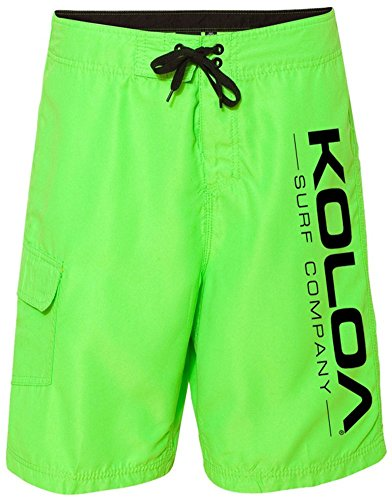 Koloa Surf Co.(tm) Neon Green Boardshorts with Black Logo - Mens Waist Size 30