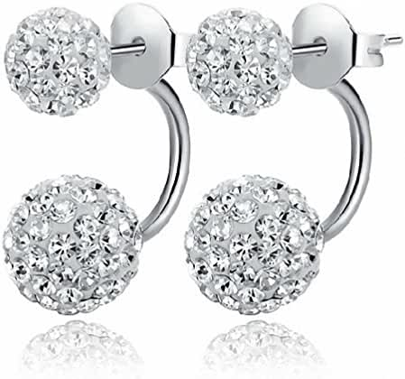 megko Fashion Jewelry Shamballa 925 Sterling Silver Double Hoop Ball Stud Earrings for Lovers