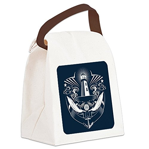 Canvas Lunch Bag Lighthouse Crest Anchor Dolphins ()