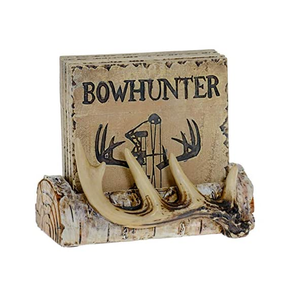 Pine Ridge Home Antler Wood Log Coaster Set with Holder - Bow Hunter Country Absorbent Coaster Decor - Cabin Lodge Home… - PROTECT YOUR FURNITURE: No more drips, puddles, damage, or water stains! The cork on the back of antler drink coasters protects your table from scratches and damage. The cabin coasters also sticks tightly to the countertop and provides good gripping power to prevent the country coasters from slipping off the table. These novelty coasters do not stick to bottom of cups or glasses when lifted. DEER DECORATIONS FOR HOME: With our functional coasters and holder set, you can feel prepared using the best coasters to keep your furniture looking nice for years to come. Use all 5 square drinking cup mats deer coaster set throughout your house, make it easy to leave drinkware on your wooden furniture without harming them. And the real bonus is they look classy and stylish in any home! NON-SKID & NON-SLIP BOTTOM DRINK COASTERS: Cabin decor coasters and coaster holder western has four non-skid padded feet on the bottom to protect table surfaces. Wildlife coaster sets with holder won't slide off your table or scratch your furniture. - living-room-decor, living-room, home-decor - 51AxSpTFQXL. SS570  -