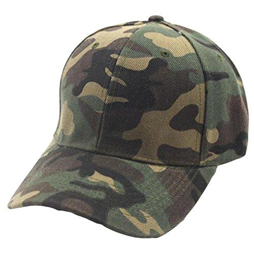 Price comparison product image Ankola Plain Baseball Cap Men Womens Camouflage Baseball Cap Snapback Hip Hop Flat Hat (Green,  One Size)