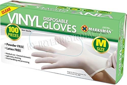 DiamondDeals Clear Vinyl Powder Free Gloves Medium