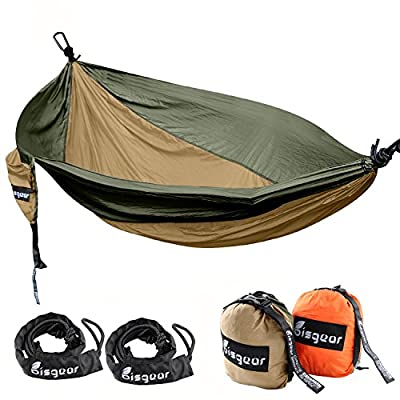 Bisgear Double & Single Lightweight Portable Travel Bed Camping Hammock