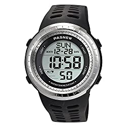 Sport Watch for Men and Women, Multifunctional Wrist Clock, Dual Time Digital Display, 3ATM Waterproof, EL Backlight,12 Group Stopwatch, Countdown Timer, 3 Alarms, Power Saving Function (Black)