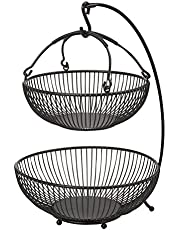 Gourmet Basics by Mikasa Spindle Adjustable 2-Tier Basket with Banana Hook, Black with Gold Antiquing
