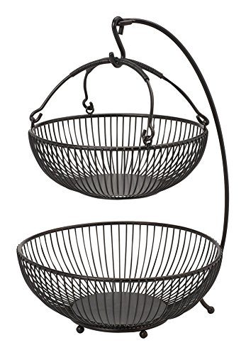Gourmet Basics by Mikasa 5164241 Spindle Adjustable 2-Tier Basket with Banana Hook, Black