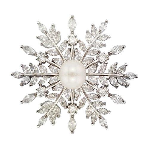 SELOVO Bridal Zircon CZ Bouquet Snowflake Simulated Pearl Brooch Pins Silver Tone