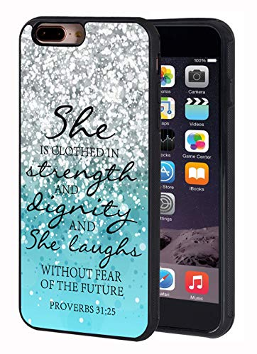 iPhone 7 Plus Case,iPhone 8 Plus Case,Blue Glitter Quotes Bible Verse Proverbs 31:25 Design Slim Impact Resistant Shock-Absorption Rubber Protective Case Cover for iPhone 7 Plus/iPhone 8 Plus 5.5 - Glitter Bible