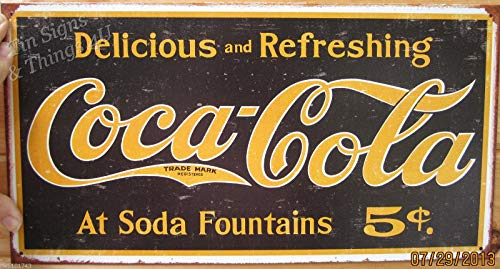 ShopForAllYou Vintage Decor Signs Coca Cola at Soda Fountains TIN Sign Vintage Coke ad Metal Wall Art Decor 1235