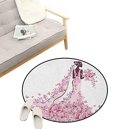 - Wedding Round Rug ,Flowers Hearts Butterflies on Wedding Dress Bridal Gown Artowork Print, Flannel Microfiber Non-Slip Soft Absorbent 31