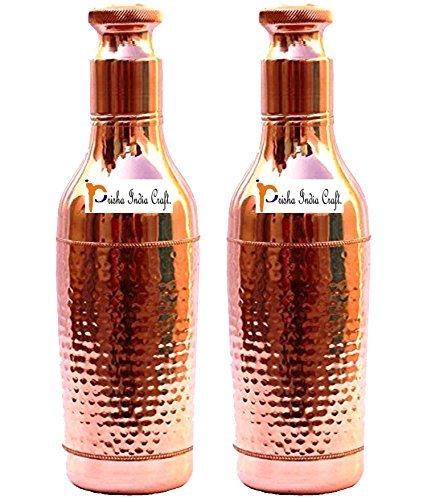 Prisha India Craft 1000ml / 33oz - SET OF 2 - Pure Copper Heavy Gauge Leak Proof Wine Bottle Shape New Design PURE COPPER water Bottle - Sports water Bottles with Bottle Cleaning Brush