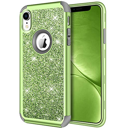 iPhone XR Case, Hython Heavy Duty Full-Body Defender Protective Case Bling Glitter Sparkle Hard Shell Armor High Impact Hybrid Shockproof Silicone Rubber Bumper Cover for iPhone XR 6.1-Inch, Green