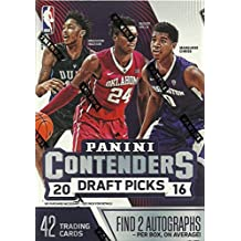 2016 2017 Panini Contenders Draft Picks NBA Basketball Box with 2 GUARANTEED AUTOGRAPHS Per Unopened Blaster Box of Packs Possible Rookies and Stars
