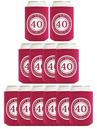 40th Birthday Gift Celebrating 40 Years 12 Pack Can Coolies Drink Coolers -