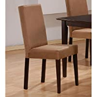 Coaster 100492 Parson Side Chairs Mocha Microfiber Upholstery Set Of 4