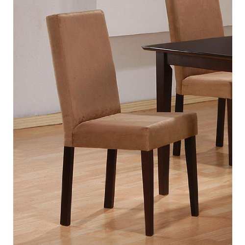 Pair of Parson Chairs in Microfiber Cappuccino Legs