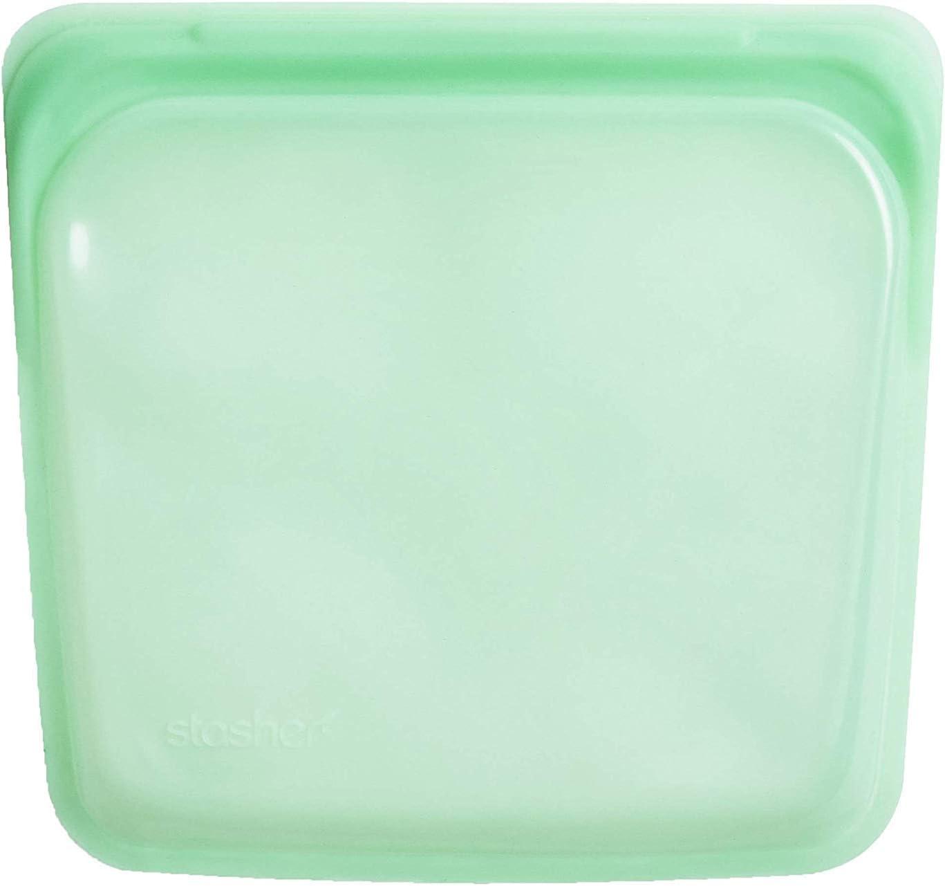 Stasher 907 - Bolsa reutilizable para sándwiches de platino de grado alimenticio para comer, congelar y guardar en organización, viajes, 19,05 cm x 19,05 cm, color verde menta, silicona