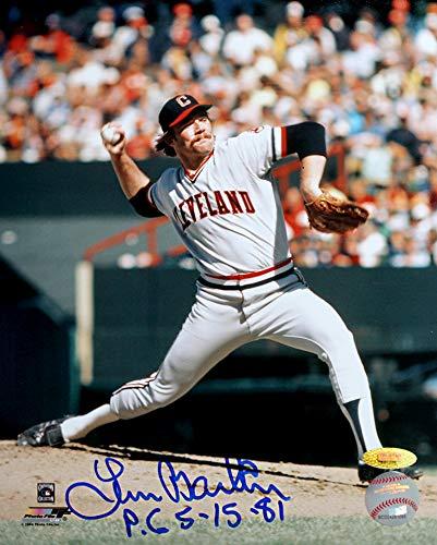 Len Barker Signed Autographed Cleveland Indians 8x10 Photo Inscribed PG 5-15-81 TRISTAR COA