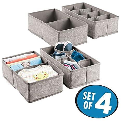 mDesign 4er-Set Baby Organizer – große Aufbewahrungsboxen mit Fächern für Socken, Lätzchen etc. – auch zur Spielzeug Aufbewahrung geeignet – beige MetroDecor 7926MDB