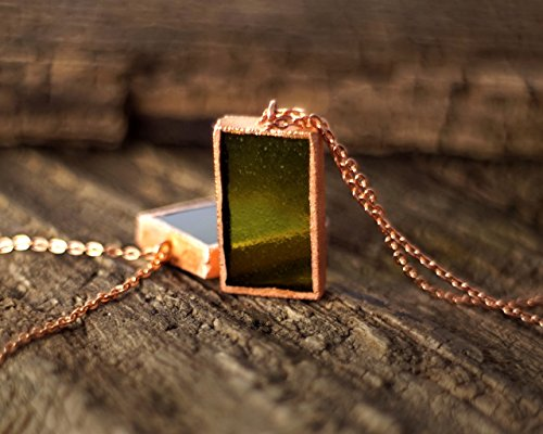 - Recycled Wine Bottle Pendant Necklace - Olive-Green Glass and Copper
