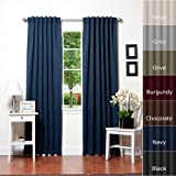 """Best Home Fashion Basic Thermal Insulated Blackout Curtains - Back Tab/Rod Pocket Grommet Top - Navy - 52""""W x 84""""L  No tie back (1 Panel)"""