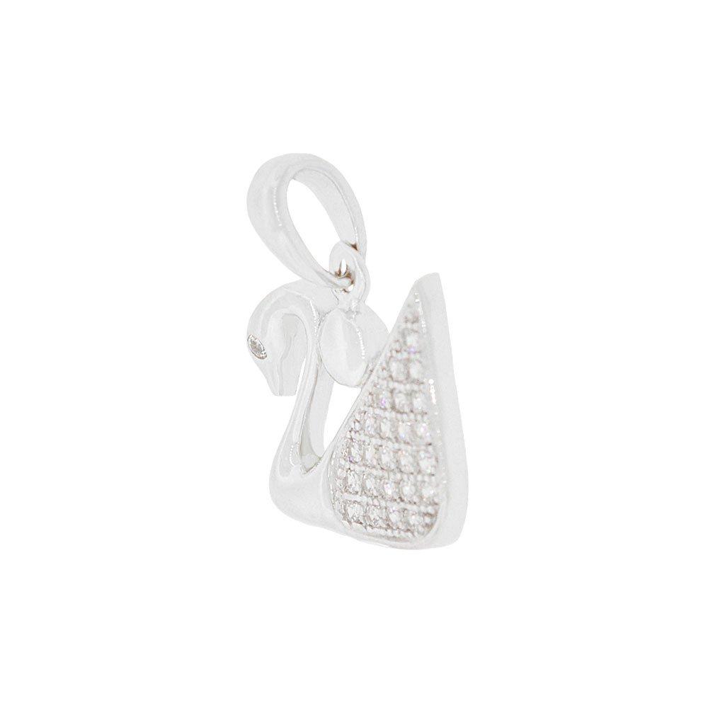 14k Gold White Rhodium Small Swan Bird Pendant Charm Created CZ Crystals
