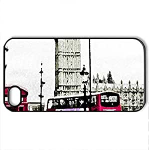 Big Ben - Case Cover for iPhone 4 and 4s (Monuments Series, Watercolor style, Black)