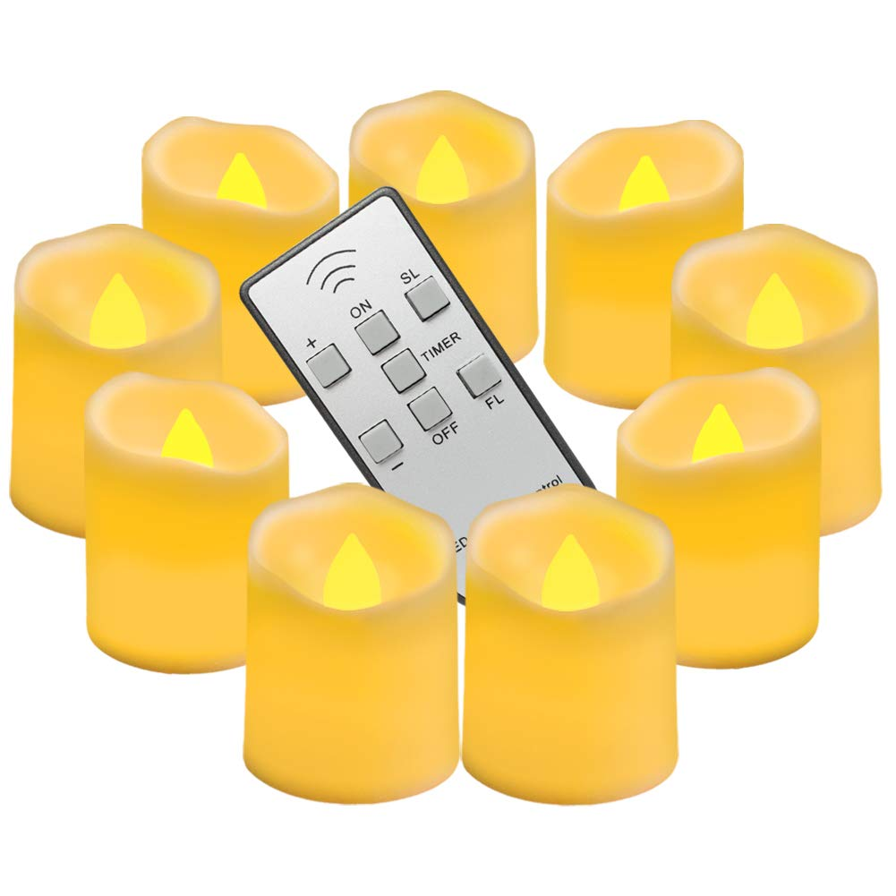 Homemory 9PCS Flameless Candles with Remote and Timer - Votive Tealight Candles - LED Tea Lights - Unscented Outdoor Flickering Candles - Battery Operated Candles Global Selection HMCLTLTRN
