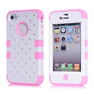 ISSEC Luxury Design Diamond Rubber Silicone Skin Hybrid Case For iPhone 4 4S(Pink+White)