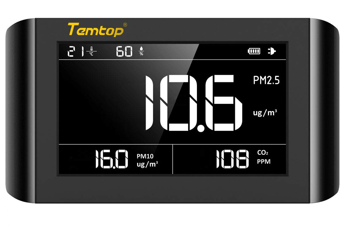 Temtop P1000 Air Quality Monitor for PM2.5 PM10 CO2 Temperature Humidity Indoor Detector Large LCD Display Built-in Rechargeable Battery