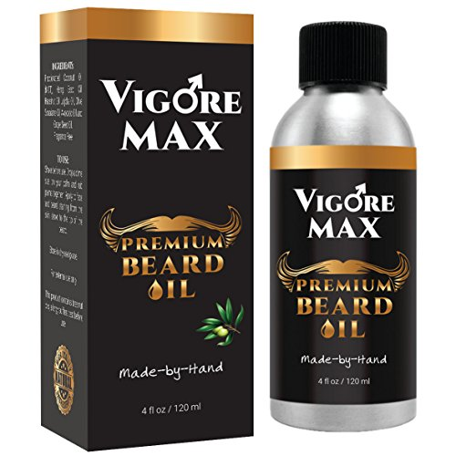 VIGORE MAX Natural Men's Beard Oil (4 fl. oz.) Handcrafted, Organic Moisturizer & Conditioner | Promote Thicker, Healthier Facial Hair, Mustache | Reduce Frizz
