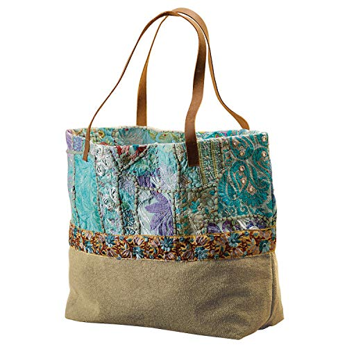 Catalog Classics Women's Turquoise Banjara Tote Bag - Beaded Embroidered Shopper